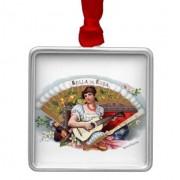 la bella de cuba vintage cubano adorno navideño cuadrado de metal retrocharms 1