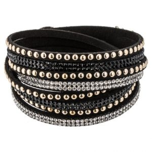 Pulsera sweet deluxe WANDA Pulsera black/crystal/goldcolored