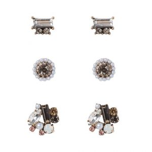 Pendientes ALDO TAUSSI 3 PACK black/clear/goldcoloured