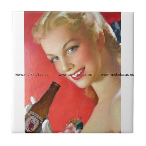 anuncio vintage de cerveza española azulejo cuadrado pequeño retrocharms