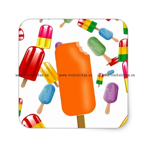 big popsicle chaos by ana lopez pegatina cuadrada retrocharms