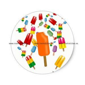 big popsicle chaos by ana lopez pegatina redonda retrocharms