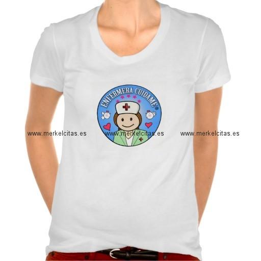 camiseta enfermera cuidame azul retrocharms