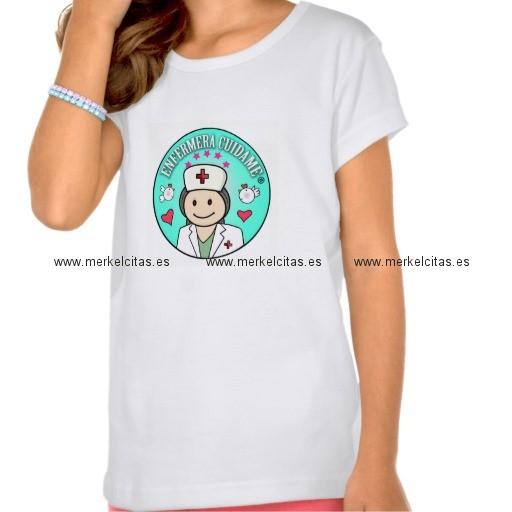 camiseta enfermera cuidame azul paraniña retrocharms