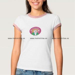 camiseta merkelcita plis en rosa retrocharms