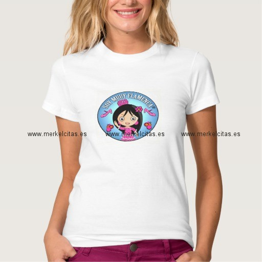 camiseta mujer soy muuy flamenca celeste y rosa retrocharms