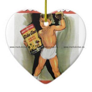 cartel antiguo vintage anuncio retrocharms adorno navideño de ceramica en forma de corazon retrocharms
