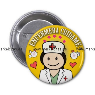 chapa enfermera cuidame morena amarilla chapa redonda 5 cm retrocharms