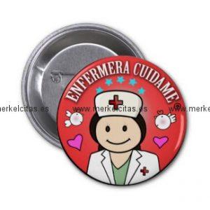 chapa enfermera cuidame morena roja chapa redonda 5 cm retrocharms