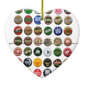 chapas de cerveza vintage españolas adorno navideño de ceramica en forma de corazon retrocharms