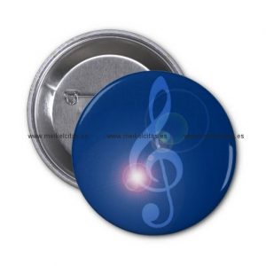 clave de sol en chapa o treble clef con efectos chapa redonda 5 cm retrocharms