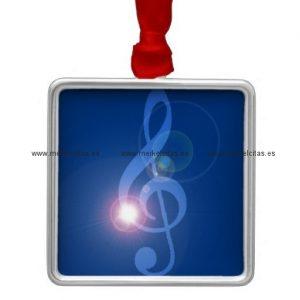 clave de sol treble clef con efectos adorno navideño cuadrado de metal retrocharms