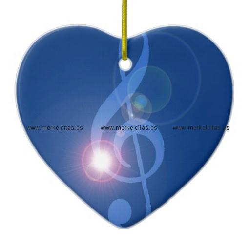clave de sol treble clef con efectos adorno navideño de ceramica en forma de corazon retrocharms