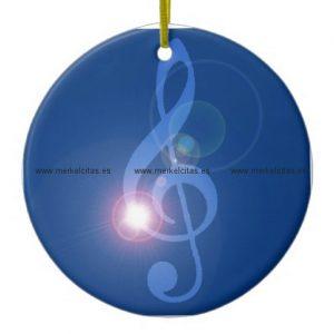 clave de sol treble clef con efectos adorno navideño redondo de ceramica retrocharms