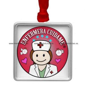 colgante regalo para una enfermera adorno navideño cuadrado de metal retrocharms
