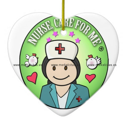 gift for caring nurses nurse care for me adorno navideño de ceramica en forma de corazon retrocharms