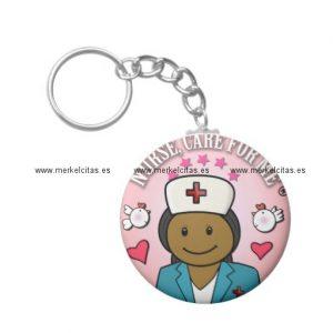 gifts nurse care for me dark hair llavero redondo tipo chapa retrocharms