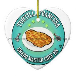 grado master chef en tortilla a la francesa adorno navideño de ceramica en forma de corazon retrocharms