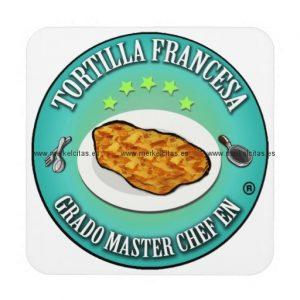 grado master chef en tortilla a la francesa posavasos de bebidas retrocharms