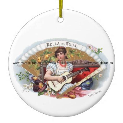 la bella de cuba vintage cubano adorno navideño redondo de ceramica retrocharms