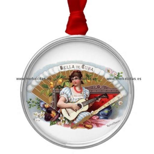 la bella de cuba vintage cubano adorno navideño redondo de metal retrocharms