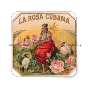 la rosa cubana diseno vintage cuba pegatina cuadrada retrocharms