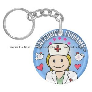llavero enfermera cuidame plis rubia azul retrocharms