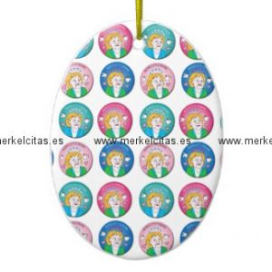 merkelcita plis cuidame adorno navideño ovalado de ceramica retrocharms