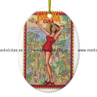 mujer havana vintage cubano la habana adorno navideño ovalado de ceramica retrocharms