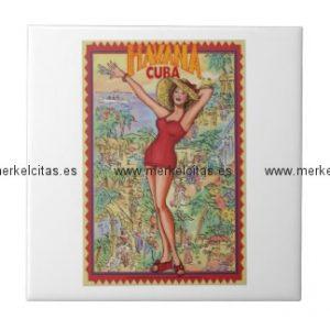 mujer havana vintage cubano la habana azulejo cuadrado pequeño retrocharms