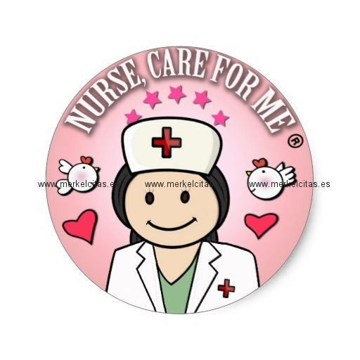 nurse care for me dark hair pink pegatina redonda retrocharms