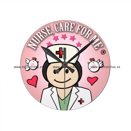 nurse care for me dark hair pink reloj redondo mediano retrocharms