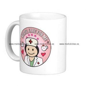 nurse care for me dark hair pink taza basica blanca retrocharms
