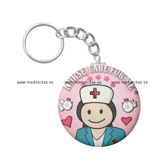 nurse care for me gifts blue and pink llavero redondo tipo chapa retrocharms