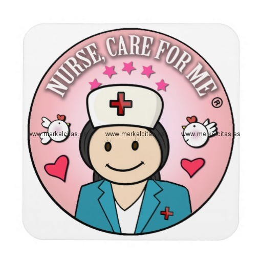 nurse care for me gifts blue and pink posavasos de bebida retrocharms