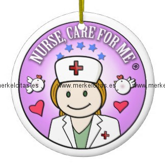 nurse care for me ginger adorno navideño redondo de ceramica retrocharms
