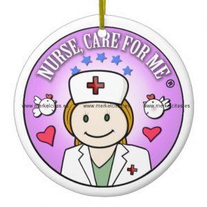 nurse care for me ginger adorno navideño redondo de ceramica retrocharms