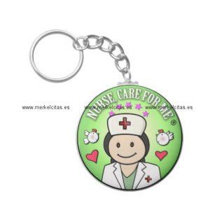 nurse will you care for me green llavero redondo tipo chapa retrocharms