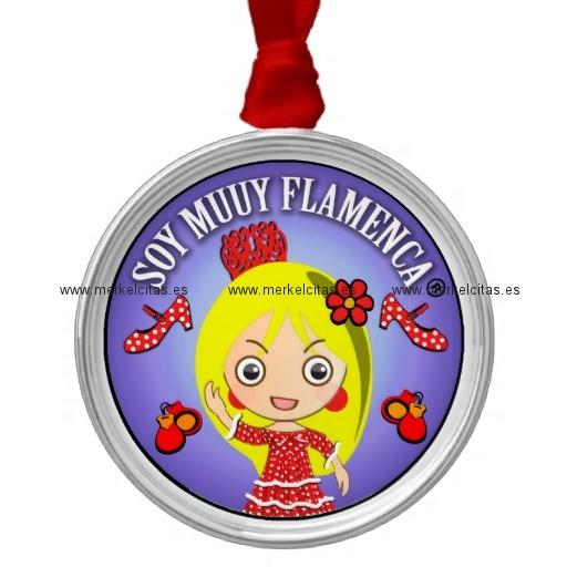 regalos de soy muuy flamenca rubia adorno navideño redondo de metal retrocharms