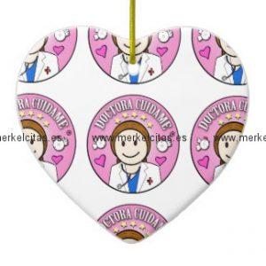 regalos doctora cuidame castana y rosa adorno navideño de ceramica en forma de corazon retrocharms