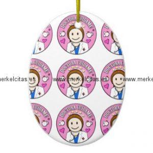 regalos doctora cuidame castana y rosa adorno navideño ovalado de ceramica retrocharms