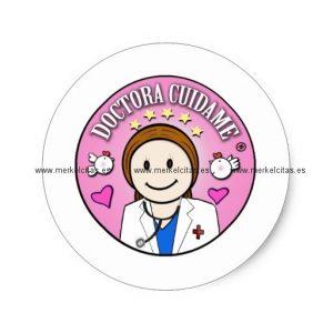 regalos doctora cuidame castana y rosa pegatina redonda retrocharms