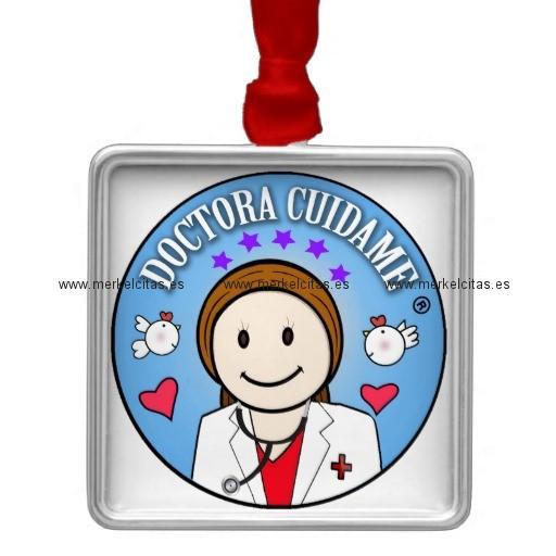 regalos para doctora castana y celeste cuidame adorno navideño cuadrado de metal retrocharms