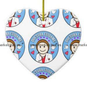 regalos para doctora castana y celeste cuidame adorno navideño de ceramica en forma de corazon retrocharms