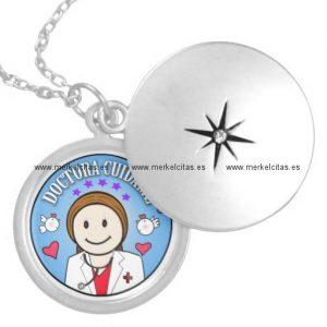 regalos para doctora castana y celeste cuidame collar redondo retrocharms