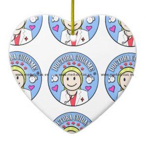 regalos para doctora rubia y celeste cuidame adorno navideño de ceramica en forma de corazon retrocharms