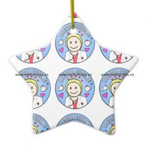 regalos para doctora rubia y celeste cuidame adorno navideño de ceramica en forma de estrella retrocharms