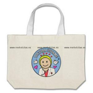 regalos para doctora rubia y celeste cuidame bolsa tela grande retrocharms