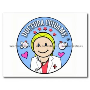 regalos para doctora rubia y celeste cuidame postal retrocharms