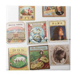 sellos cuba vintage etiquetas memorabilia azulejo cuadrado pequeño retrocharms
